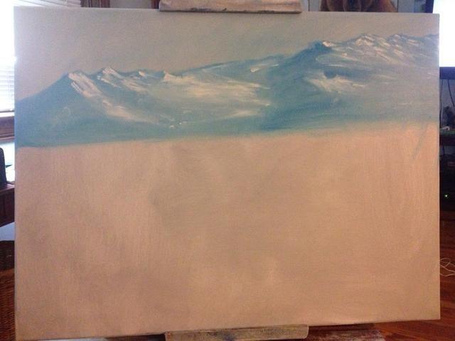 Blanco sobre los dedos y añadir la nieve a la montaña. Observe cómo se pone en el lado derecho de cada pico.