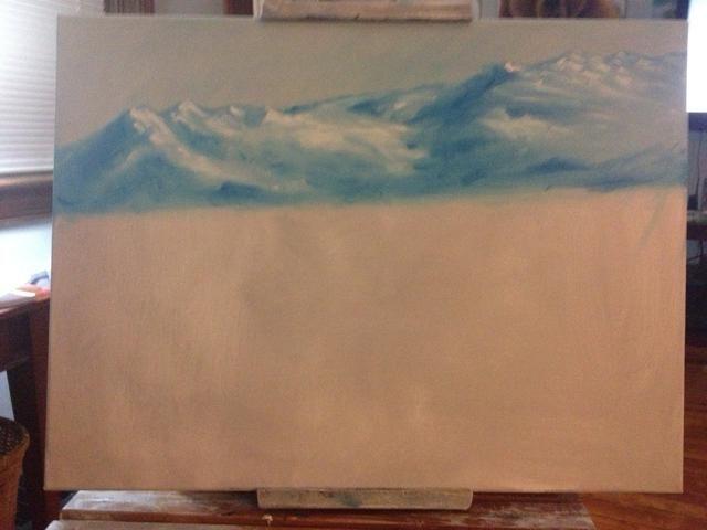 Ahora, un tercer tono azul más oscuro para añadir sombra en el lado izquierdo de los picos. Profundidad, hijo!