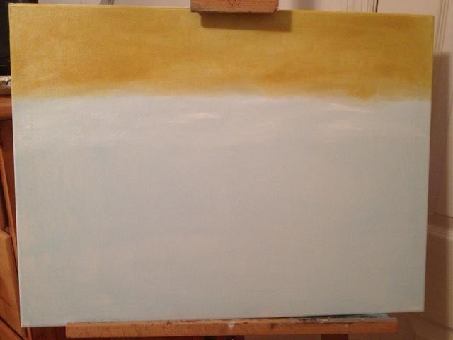 Ocre y blanco para el campo de fondo borroso. Trazos horizontales y luego se mezclan todo junto.