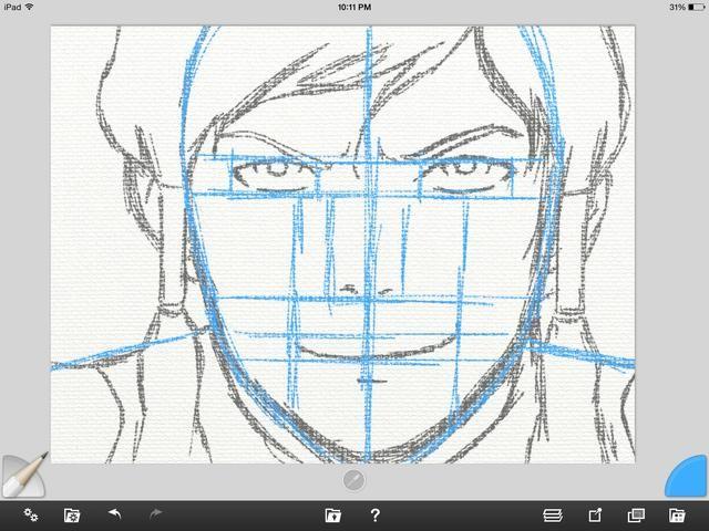 Ahora creo una nueva capa para dibujar en la parte superior. Esto es lo que yo llamo la capa de grafito. Empiezo a poner en los detalles de Korra's face. Remember her eyes are exaggerated and the features are minimal.