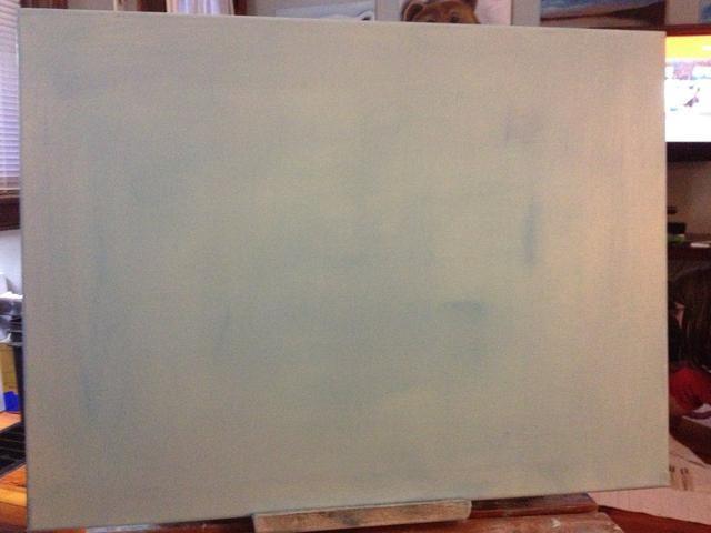 Primer tu lienzo con líquido blanco y un toque de azul para un arranque en frío ártico.