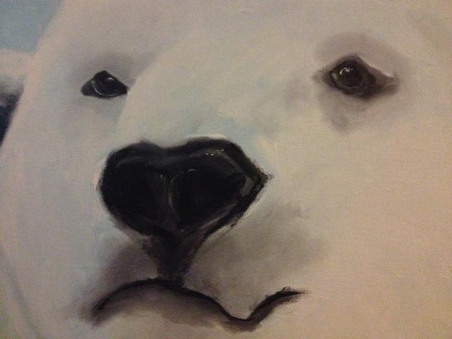 Detalle de los ojos y la nariz. Usted puede engañar y utilizar un pincel delineador si quieres:) ~