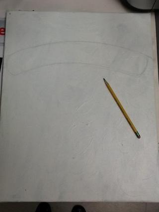 En primer lugar permite extraer de Santa. Estoy utilizando el lápiz, pero yo recomiendo tizas de colores, ya que es más fácil de borrar. Cerca de la cima dibujar dos líneas curvas 2