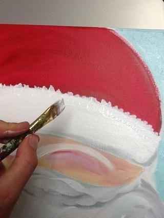 Frote el pincel para pintar la textura en la bola banda y puff tenido.