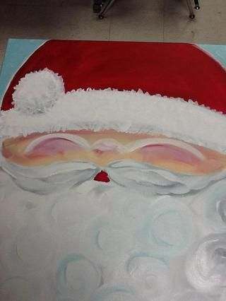 Estoy pintando la boca ahora b / c yo no't want the red paint to smear into the mustache.