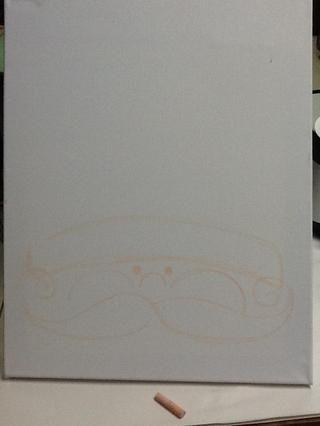 Dibuja un gran bigote rizado justo debajo de la nariz y las mejillas que se extiende todo el camino hasta el borde de la tela.