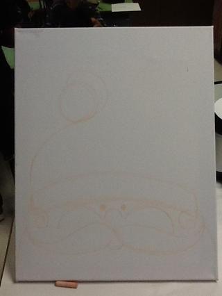 Dibuja el lado izquierdo de la tapa con una línea curva como esta.