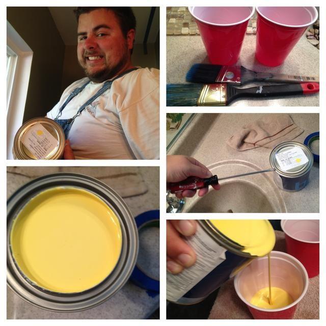 elegir un color atrevido, agitar bien, utilice un destornillador para hacer palanca abierta puede, se vierte cuidadosamente en un vaso de plástico, y limpie la lata de exceso con un pincel!