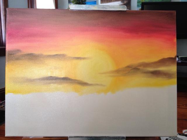 Scrub en tus nubes Drifty oscuros. Que sea realista al traer algunos a través del sol y algunos fuera del lienzo.