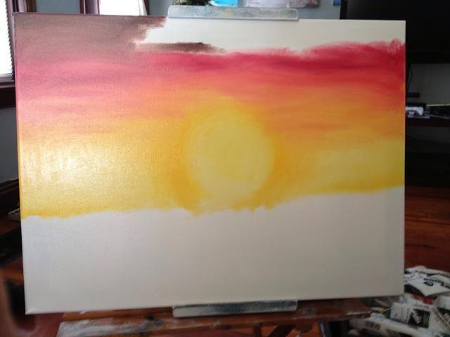 Añadir un poco de color rojo brillante a su color amarillo dorado para hacer una naranja y puesta en marcha del lienzo. Continuar con rojo simplemente brillante, a continuación, un carmesí, a continuación, un rojo y mezcla de color marrón.