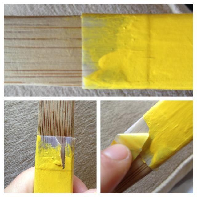 Cuando la pintura esté seca, encontrar la costura, y tire suavemente la cinta. Tire lentamente y lejos de la pintura - esto ayudará a darle una línea quebradiza!