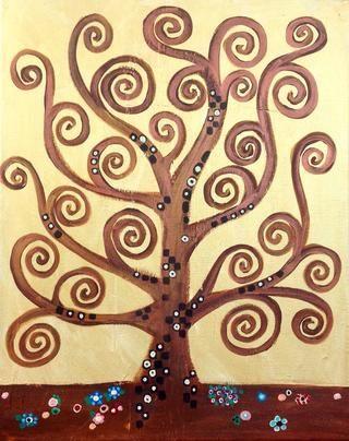 Un árbol de la vida en el estilo de Gustav Klimt.