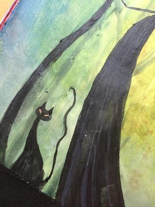 Para completar la página, he pintado en un gatito negro ... igual que mi belleza. :RE
