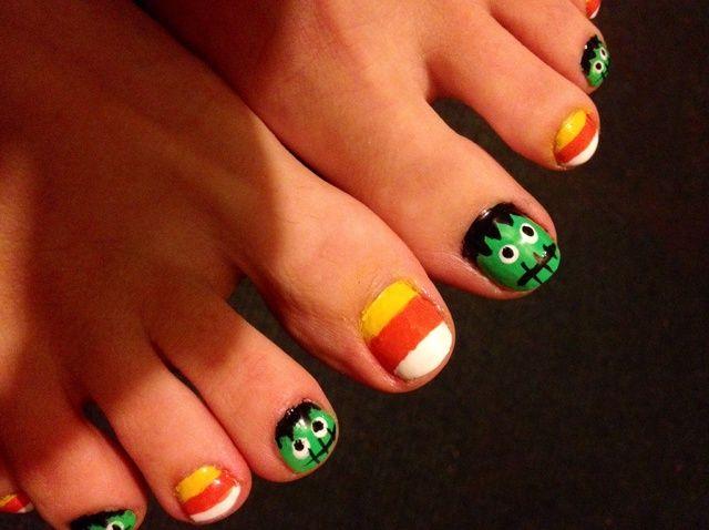 Fotografía - Cómo pintar uñas de los pies en el Espíritu de Halloween de