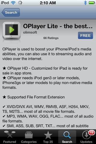 Descarga OPlayer por OLIMSOFT desde la App Store. Precio: GRATIS