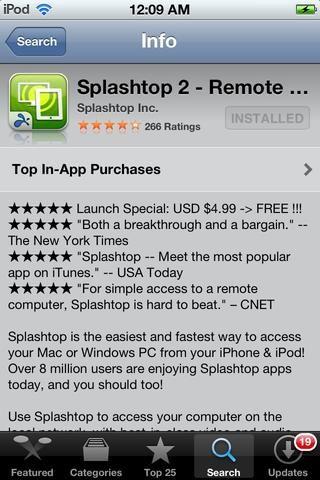 Descarga Splashtop 2 ESCRITORIO REMOTO por Splashtop INC. Desde la App Store. Precio: $ 5 Venta: GRATIS POR TIEMPO LIMITADO!