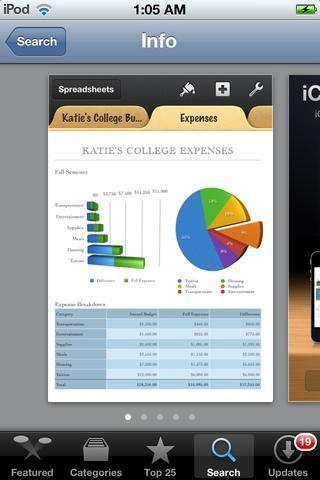 Números es una aplicación hermosa toma de hoja de cálculo para iOS. Esto es de Apple