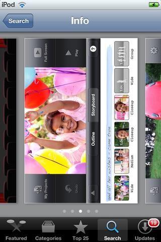 IMOVIE es una aplicación de edición de vídeo elegante para iOS. Es bueno para la edición de vídeo básica. También cuenta con plantillas para trailers de películas (sólo la versión de Ipad tiene esta función).