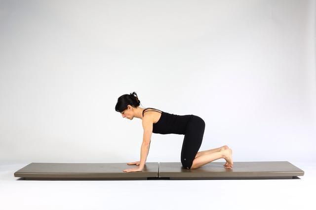 1. TABLÓN PASEO OUTS- inicia en las manos y las rodillas, las manos debajo de los hombros, las rodillas debajo de las caderas. Mantenga la columna neutral.