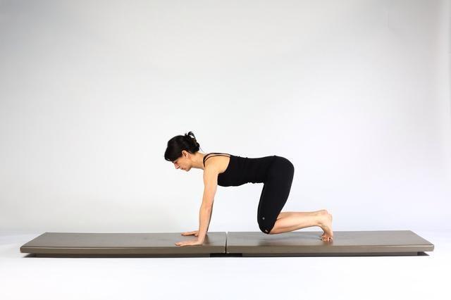 2. TABLÓN PASEO OUTS- Mantener neutral empuje espina dorsal en los pies y las manos para levantar y se ciernen rodillas 2-4 pulgadas de estera. Mantenga los abdominales contraídos isométricamente