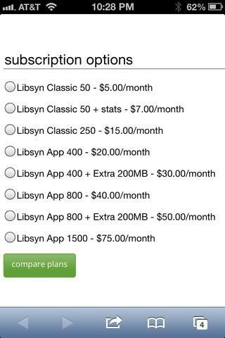 Un programa semanal de 60 minutos de duración y codificada en 0.5 mb por minuto cabrá en un clásico plan de 250. Si quieres estadísticas detalladas (recomendado) obtener el plan de aplicación 400.