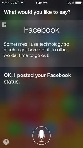Siri ahora se actualizará automáticamente su estado. Y eso's it, you're done! This will work the same way if you want to post to twitter.