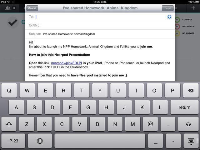 Al pulsar en el PIN en la pantalla, se puede enviar a todos sus alumnos por correo electrónico.
