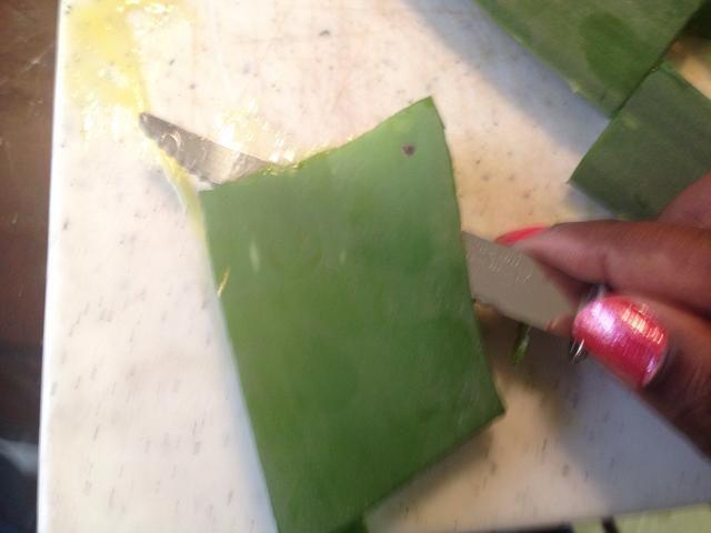 Tomando el cuchillo cortar la parte superior de la parte exterior de la hoja de aloe apagado, inclinando el cuchillo hacia arriba como para dejar la carne de la hoja en la parte inferior