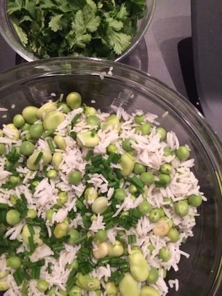 Mezclar el arroz con frijoles añaden las cebolletas y el cilantro. Personalmente me gusta sin ningún aderezo. Me gusta el sabor de verdes nuevos frijoles crudos temporada frescas ... O ... un chorrito de aceite de ajo con sabor.