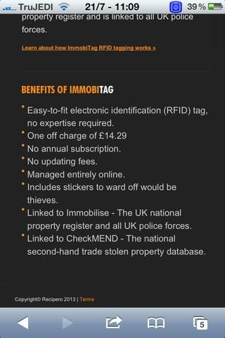 Como se mencionó en la captura de pantalla en el Reino Unido inmovilizar están relacionados con el registro nacional del Reino Unido de la propiedad. Registre su producto en línea con su ?????? detalles! Esto no es un perseguidor! Ello's an ID chip!