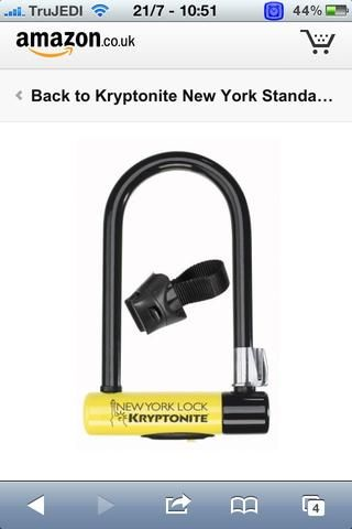 Kryptonite Nueva York 3000 es un bloqueo de patrón oro! Por favor, no't scrimp and save on locks!!! The amount of expensive bikes �� I see with pathetic locks��attached is shocking �� you are inviting thieves!