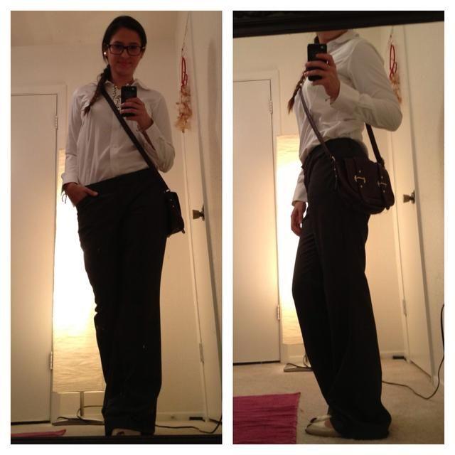 pisos Naturalizer ($ 7), pantalones expresas ($ 7), vestido de Liz Claiborne camisa ($ 7), cartera Old Navy ($ 4), todos de buena voluntad. Y fue en condiciones a estrenar, sí me doy cuenta de los pantalones son un poco demasiado grande lol ??????