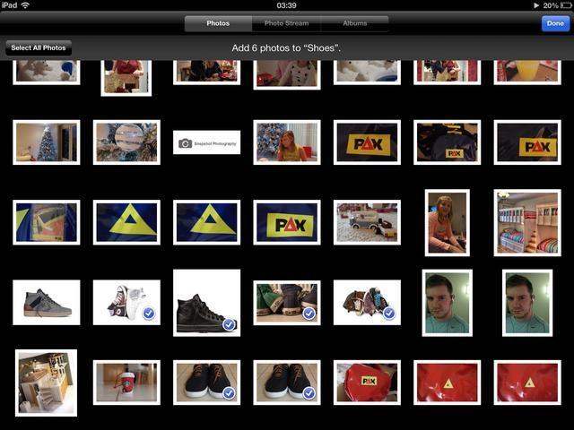 Seleccione las imágenes que desee en el álbum y luego toque Hecho. He llamado a mis zapatos álbum así que voy a elegir unos zapatos