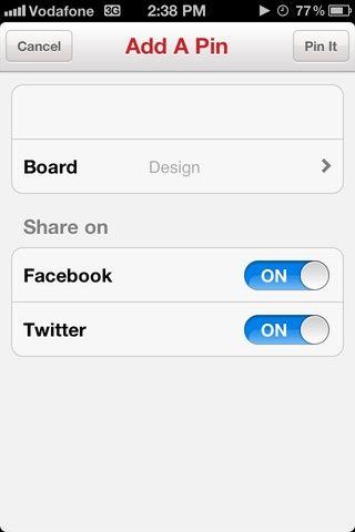 Safari se cambia a la aplicación Pinterest's default Add A Pin tab.