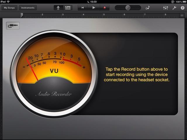 Si el icono muestra un jack estéreo usted tiene la del iRig conectado correctamente. Si muestra un micrófono a continuación, compruebe la conexión. Para grabar, simplemente haga clic en el icono de grabación y haga clic de nuevo para detener la grabación.