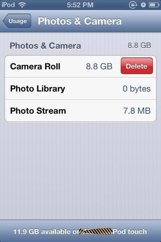 Puede eliminar fácilmente todas las fotos aquí ... Acabo de volver a ellos en el PC / Mac primero.