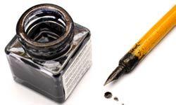 derrame de tinta y la pluma