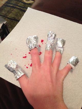 Repita el proceso en la siguiente mano. De hecho, me acabo de utilizar los de mi primera mano y los reutilizados.