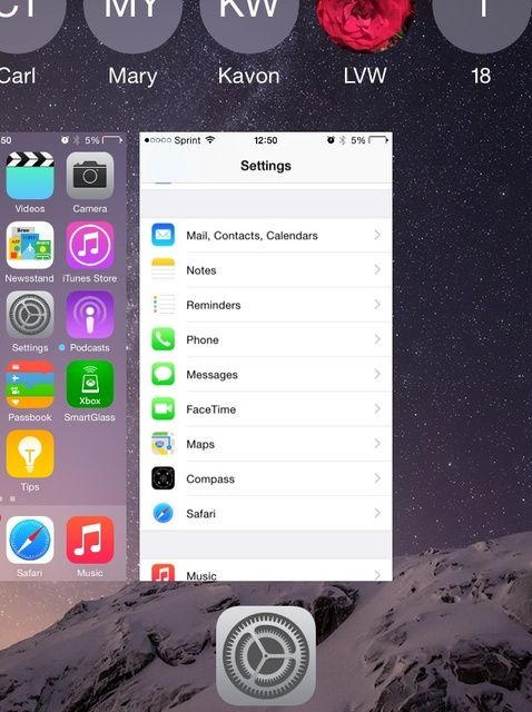 Cómo quitar Contactos recientes Desde App Switcher en iOS 8