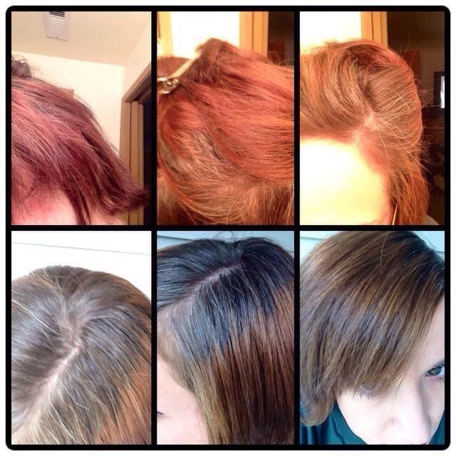 Este fue de 3 tratamientos. Dejar reposar durante aproximadamente 3 horas. Mi cabello es en su mayoría de color gris con un trabajo de tinte malo que se volvió naranja rojizo brillante. yo'm trying to grow the natural greyish whit grow out.