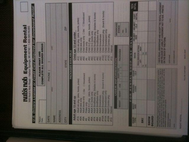 Rellene el formulario de alquiler de equipos