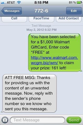 AT & T responderán y le pedirá el número de teléfono spammers.