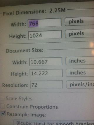 Estos son los valores predeterminados para el jpeg envié de ArtRage. Debe cambiar la resolución, ancho y alto para la impresión de tamaños más grandes. Ello'll pixelate beyond 11 x 17 if you don't.