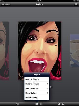 Aquí está una de mis pinturas acabadas. Primero por correo electrónico a mí mismo dentro de la aplicación.