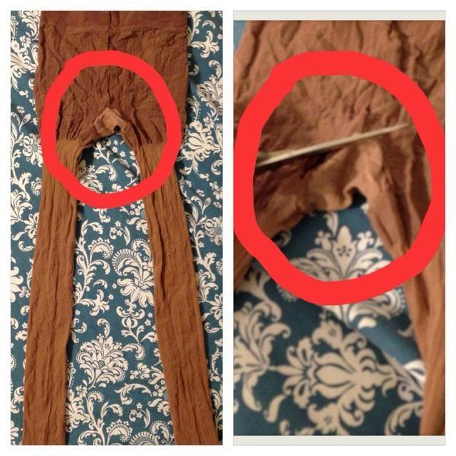Ahora, corte el panel de la entrepierna a lo largo de la costura. Se recomienda usar un par de medias con el panel si usted está haciendo esto por primera vez. Tengo un video del proceso de corte en la página 6.