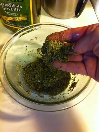 usted'll want to pour enough olive oil into your herb blend to make a paste.
