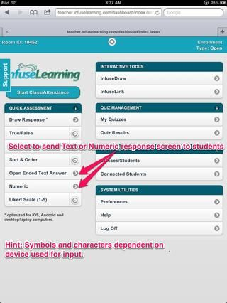 Profesor Vista: Para preguntas de texto y numéricos simplemente seleccionan la flecha hacia adelante (o en cualquier lugar en el botón) para enviar a los dispositivos de los estudiantes.