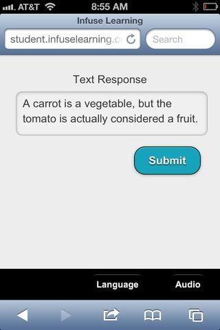 Estudiante Ver: Los estudiantes reciben pantalla de respuesta (dispositivo de estudiante) y el uso del teclado del dispositivo para crear la respuesta. Sugerencia: Cualquier símbolos o caracteres disponibles en el dispositivo de estudiante se pueden introducir en la respuesta.
