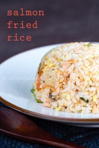 Salmón arroz frito