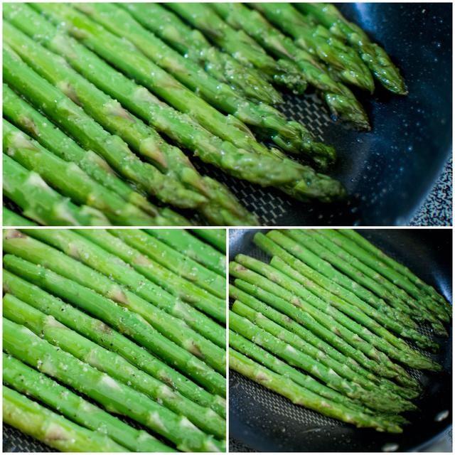 ¡¡¡¡¡¡¡Con rapidez!!!!!!! Coloca el espárrago en la sartén e inmediatamente temporada. Usé unos 4 batidos de cada condimento. Rápidamente, añadir el ajo en polvo, sal, y pimienta negro.